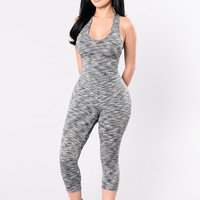 Work It Out With Me Jumpsuit - Grey