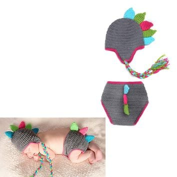 Baby Cute Animal Dinosaur Hat Set Newborn Crochet Knit Clothes Photography Photo Props Outfit Outfits