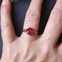 Antique Ruby Ostby Barton Ring 10k Gold Victorian OB Titanic July birthstone red Maltese cross