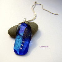 One-of-a-kind Handmade Dichroic Fused Glass Large Triplet Zirconia Necklace Pendant by Umeboshi Jewelry Designs