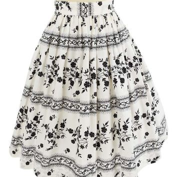60s Black White Floral Stripe Full Skirt
