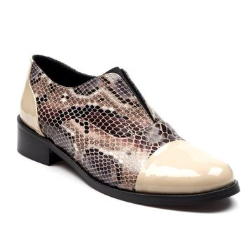 Beige With Snake Pattern Leather Oxford Shoes