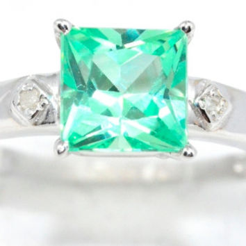 1 Carat Emerald Princess Cut Diamond Ring .925 Sterling Silver Rhodium Finish White Gold Quality