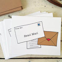 Snail Mail Note Cards - Stationery Set of Cards - Funny Cards - Just Because - All Occasion Cards