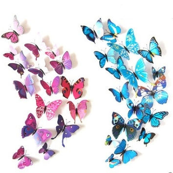 12pcs 3D Butterfly wall stickers home decor Sticker on the Art Wall decal Mural for creative vintage Home appliances kids rooms with magnet