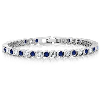 Stunning Round White Cubic Zirconia and Simulated Blue Sapphire Tennis Bracelet
