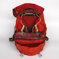 Vintage Hiking Backpack / Rucksack / 70's Red with Leather Straps