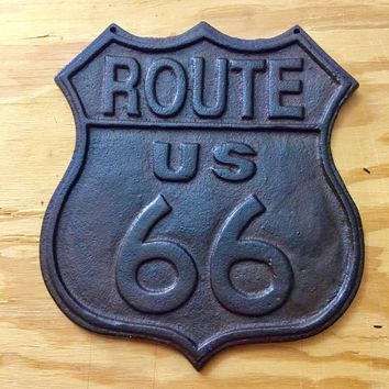 """Cast Iron Route 66 Hanging Sign 7.5"""" x 6.5"""" x 0.5"""""""