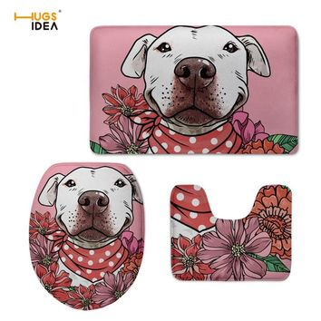 HUGSIDEA Bathroom Accessories Floral Pit Bull 3D Print Toilet Seat Cover Eco-friendly Pink Toilet Mat Washable Cushion Pads Lids