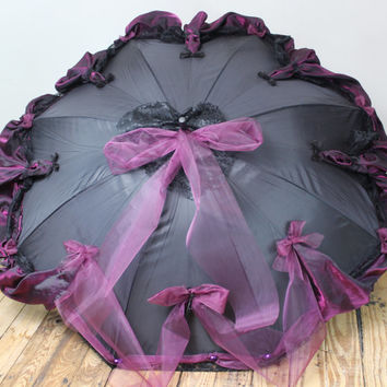Lace Trimmed Parasol Goth Umbrella Neo Victorian Style Cosplay Elegant Gothic Lolita EGL Steampunk Clothing Gothic Funeral Visual Kei Eva V2