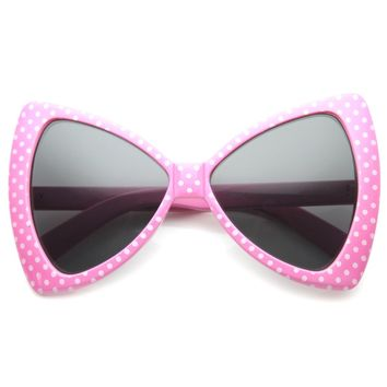 Oversized Bow Tie Dot Designed Pink Oversized Sunglasses