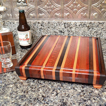 Handmade Medium Wood Cutting Board and Drink Coaster Set- The Woodland ll - Bloodwood, Black Walnut, Hard Maple and Mahogany