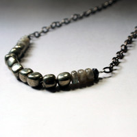 Bohemian  Beaded Strand Necklace-  Pyrite, labradorite and gunmetal