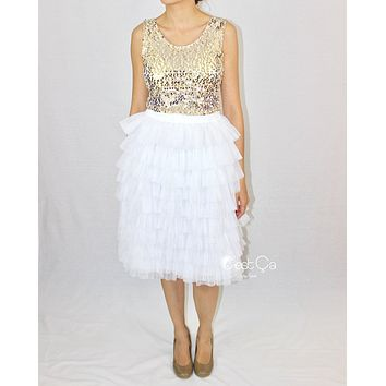 Celine White Tiered Midi Tulle Skirt