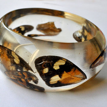 Real Butterfly Bangle. Insect Jewelry. Resin Bangle. Resin Jewelry.  Limited Edition. Bracelet. Cunky Bangle