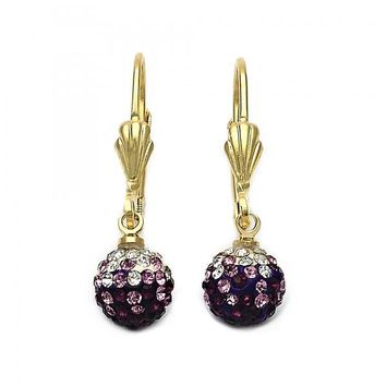 Gold Layered Dangle Earring, Ball Design, with Crystal, Golden Tone