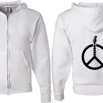 Guitar Peace Full Zip Hoodie Back Print
