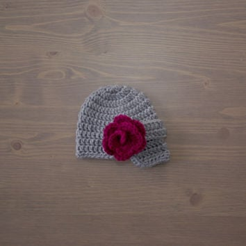 Crochet Grey Newsboy Cap with Flower, Newborn Photo Prop, Crochet Baby Hat, Crocheted Baby Hat, Baby Shower Gift, Newsboy Hat, Baby Girl Hat