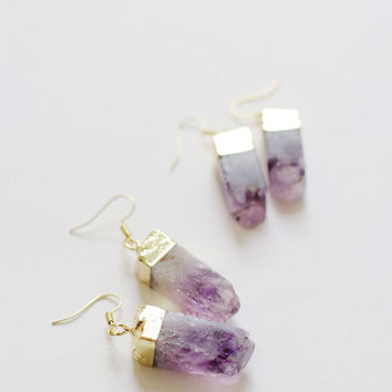 Amethyst earrings raw crystal earrings raw quartz earrings amethyst dangle earrings gemstone earrings amethyst jewelry raw stone earrings