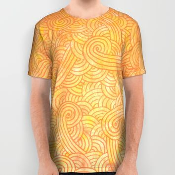 Yellow and orange doodles All Over Print Shirt by Savousepate