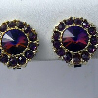 Vintage Purple Rivoli Rhinestone Button Earrings