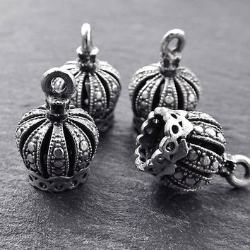 4 Ornate Tassel Caps - Small Size - Matte Antique Silver Plated Round Bead caps