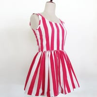 Striped ballerina low back summer dress with full skirt
