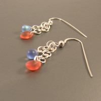 Sterling Silver Dangle Earrings with Blue and Orange Drop Beads