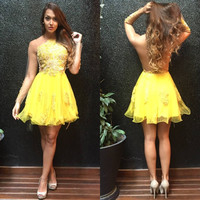 Yellow Homecoming Dress, Mini Ruffles Sweet Homecoming Dress with Appliques