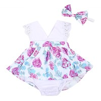 Family Matching Outfits Infant Baby Girls Lace Floral Little Big Sister Matching Clothes Romper T-shirt Dress