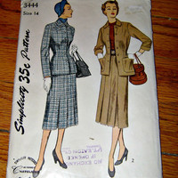 1950 Simplicity 2 Piece Suit Pattern 3444 Vintage 50's Dress Sewing Pattern Instructions Women Misses Two Piece Suit Skirt Jacket T Eaton Co