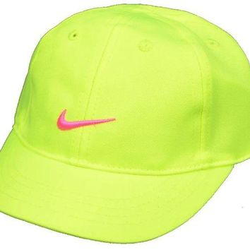 ONETOW Nike Baby Girls Embroidered Swoosh Logo Cotton Baseball Cap 12/24M