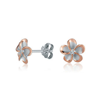 Sterling Silver & Rose Gold Plumeria Flower 8mm Stud Earrings
