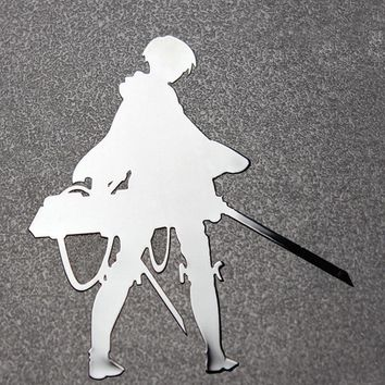 Cool Attack on Titan Large  Levi Anime Sticker Phone Laptop Stikers Car Motorcycle Pegatinas DIY 3D Metal Stickers toys for children AT_90_11
