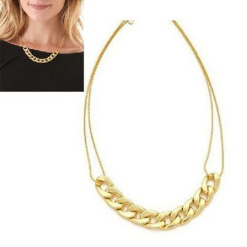 2014  Fashion Shiny Alloy Light Gold Chunky Curb Chain Link Bib Choker Necklace Punk