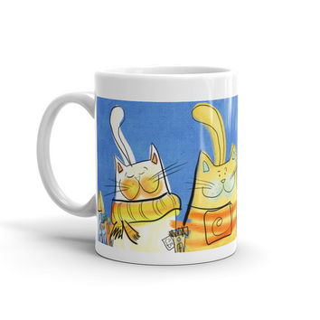 MUG 11oz - City Cats - Washdisher and microwave - Gift for Her - Gift for Him - Cat Person