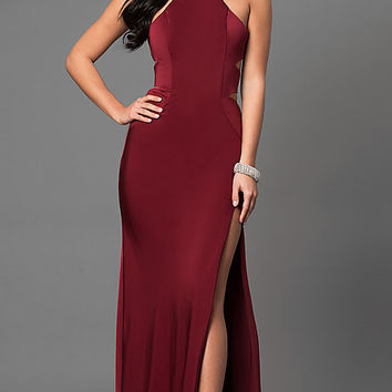 Long Sleeveless Prom Dress with Side Cut Outs