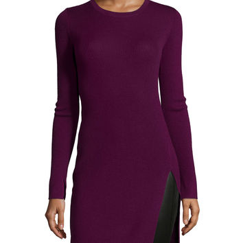 Long-Sleeve Fitted Tunic Dress, Port, Size: