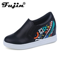 2017 spring autumn Fashion Wedges Ankle Causal Shoes For Woman Fall Women Shoes Leather Black white wedge Mujer height increased