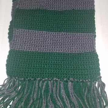 Handcrafted, hand crocheted, harry potter color scarf, SLYTHERIN, green/gray