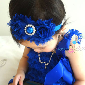 Duo Shabby Royal Blue Baby Girls Headband