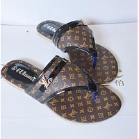 LV WOMEN SANDALS FLIP FLOPS FLAT SLIPPER BEACH