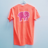 Pocketed Neon Coral Purple Paisley Short Sleeve Tee