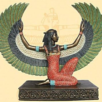 Isis Kneeling with Wings Upturned Egyptian Statue, Bronze Finish 8.5H