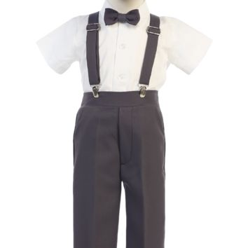 Charcoal Grey Suspender Pants & Dress Shirt 5 Pc Easter Spring Outfit (Baby 6 months to Boys Size 7)