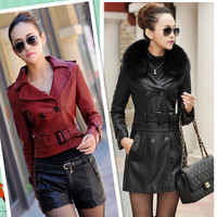 Hot selling,2015 new fashion sheep skin leather jacket,detachable female long&short leather windbreaker locomotive jackets M-5XL