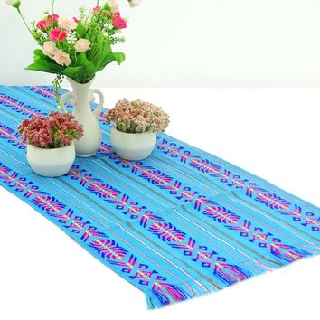 Mexican table runner, turquoise Table runner 14x72 Inches, Fiesta Decoration, Cinco de Mayo, Boho Chic Decor, Fiesta Decor linens.