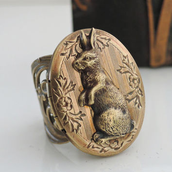 Vintage Ring - Locket Ring - Rabbit Jewelry - Rabbit Ring - Bunny Ring - Statement Ring - Adjustable Ring - handmade jewelry