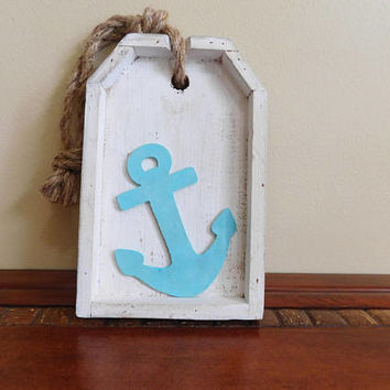 Anchor Decor - Nautical Wall Hanging - Beach Gift - Nursery Decor - Beach House - Housewarming - Rustic Decor