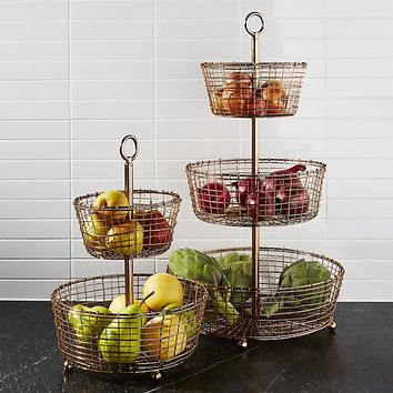 Bendt Tiered Copper Fruit Baskets